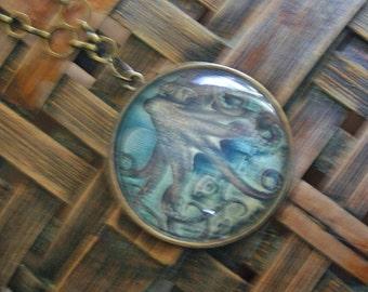 Steampunk, octopus pendant necklace