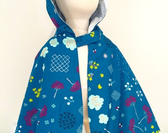 Girls Reversible Hooded Cape. Cotton Lawn and plain cotton fabric size 2-6