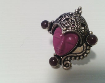 Purple agate ring 925 Sterling silver