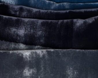 Velvet silk scarf/ Hand Painted Parisian Blue scarf/ Painted scarves/ Abstract velvet scarf Handpainted/ Luxury scarves OOAK/ Holidays gift