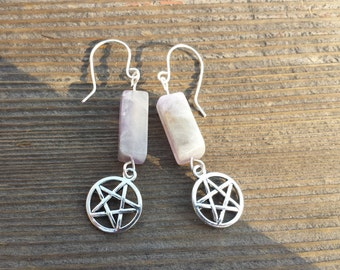 WIRE WRAPPED EARRINGS Amethyst Pentacle in Silver Handmade