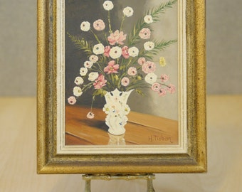 Vintage Pink and White Floral Oil Painting / Framed