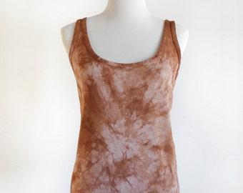Hand Dyed Shibori Tank Top - Eco Dyed Shirt - Sleeveless Shirt - Altered - Upcycled - Eco Friendly Top - Eco Fashion - Size XXL - Reddish