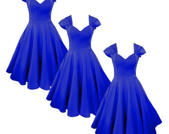 Elizabeth Stone, 'Vivien' 50s Bridemaid Rockabilly Dress in Royal Blue