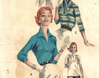 Butterick vintage 1950s sewing pattern - hooded and collared top - Size 12
