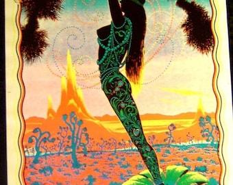 Vintage 1970s~DESERT BLOSSOM~Glorious Girl BLACKLIGHT Poster