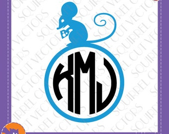 Mouse Monogram Frame SVG DXF EPS Cutting files