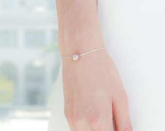 Rose Gold Silver Pearl Bracelet - Dainty Silver Jewelry - Unique Bridesmaid Gift - Swarovski Pearl - Wedding Pearls - Bridesmaid Gift