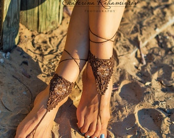 brown Beach Wedding Beaded Crochet Barefoot Sandals, Beach Party Shoes, Beach Wedding Shoes, Summer Crochet Shoes, Beach Party Sandals