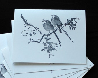 Note cards/bird on branch/set of six