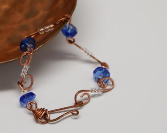 Copper and Blue beaded wire bracelet