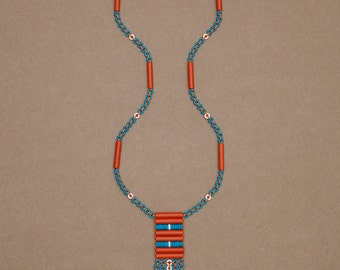 Long beaded talisman fringe necklace made with colourful ceramic beads