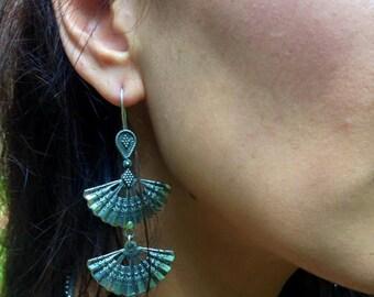 Saikala Triple Fan Earrings, Long Dangle earrings, Statement Earrings, Boho Earrings, Bohemian Gypsy, Rajasthani Tribal Earings