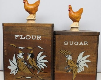 Flour & Sugar Canisters w/ Upcycled Trophy Top Chicken Rooster Super Cool Vintage Retro Rooster Cedar