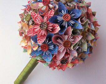 Origami Patterned Multi-Color Kusudama Paper Flower Bouquet