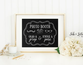 Photo Booth Sign - Grab a Prop and Strike a Pose - Wedding Chalkboard Print - Photo Booth Printable - 8x10 Printable - Instant Download