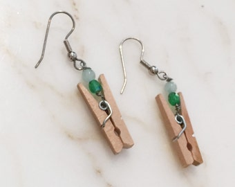 Aventurine Clothespin Earrings