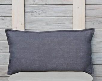 Lumbar linen pillow cover. Custom size. Decorative pillow case in graphite color.  Home decor by LinenSky.