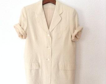 Vintage Ivory Silk Blazer with Short Sleeve