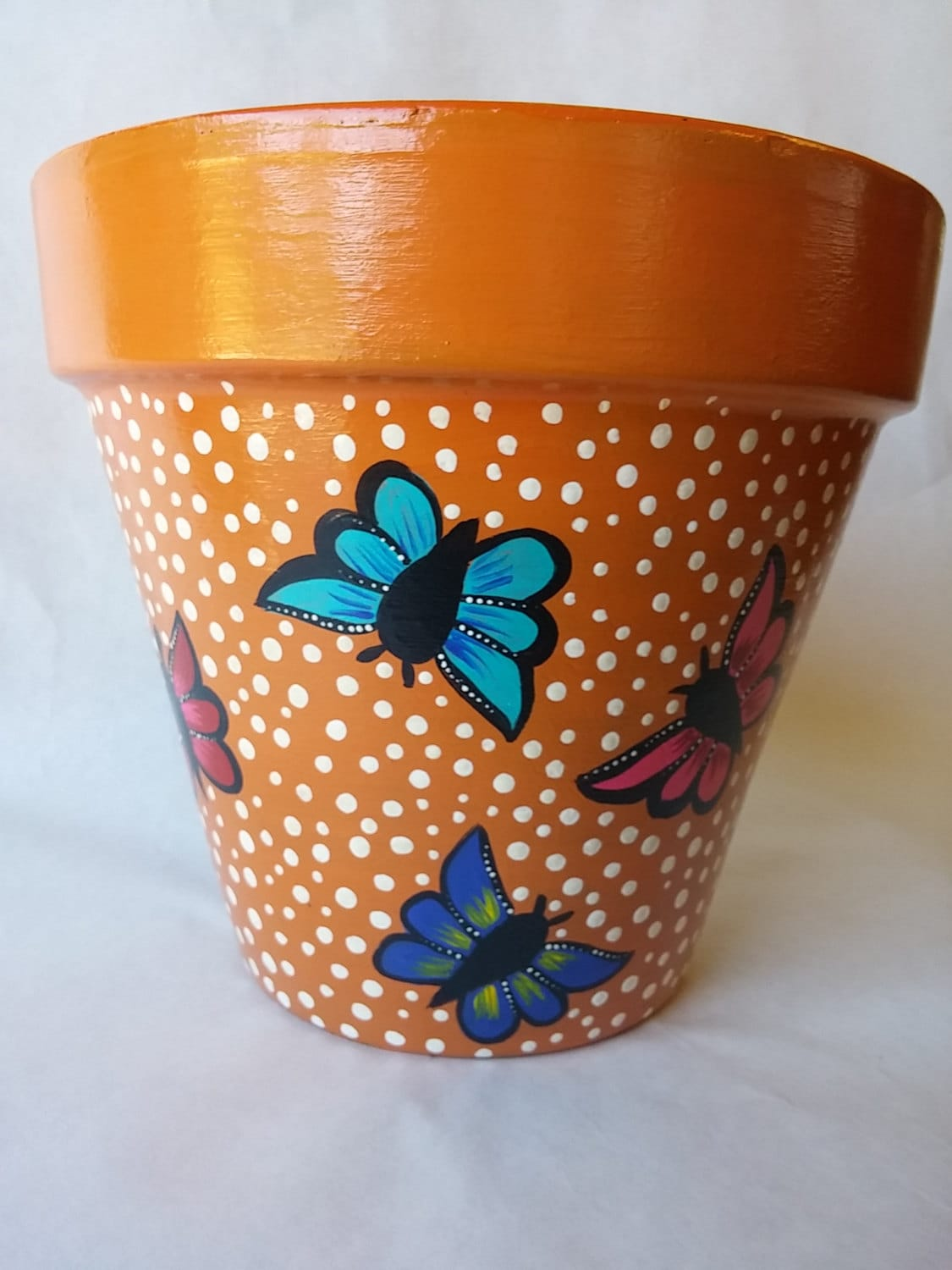 pottery hand painted pot butterfly clay by. Black Bedroom Furniture Sets. Home Design Ideas