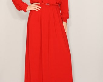Red maxi dress Batwing dress with long sleeves