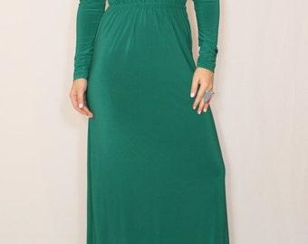 Emerald green dress Long sleeve dress Maxi dress Women