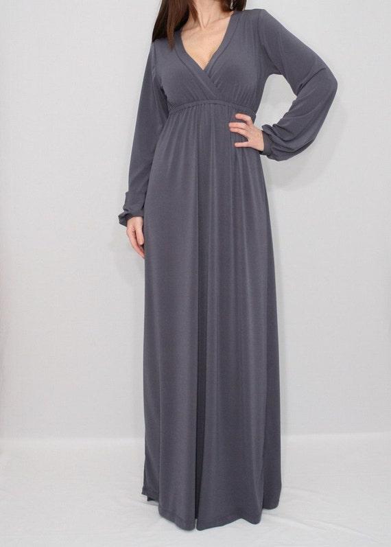 Gray Maxi Dress Long Sleeve Dress Empire Waist Dress By