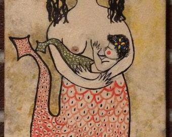 PA Dutch Fraktur Nursing Nixa (River Mermaid) Painting