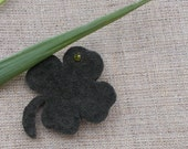 leather broach four leaf clover dark green leather brooch for women, girls.4 leaf clover miniature brooch leather flowers brooch girl brooch