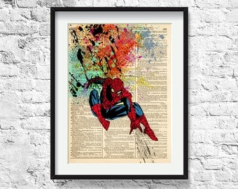 spiderman / art print on vintage dictionary page/ spiderman / 251
