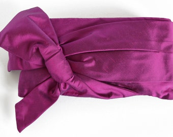 Plum Clutch Bag, Silk Clutch bag, Clutch Purse, Bag with a Bow, Clutch bags