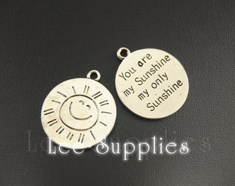 """10pcs Antique Silver Alloy  Round Message """"You Are My Sunshine My Only Sunshine""""Carved Charms Pendant A960"""