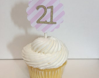 "Gold Glitter and Pink and White Striped ""21"" Birthday Cupcake Toppers- Set of 12"