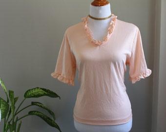70s Peach Ruffle Collar and Sleeve Top | 1970s Top