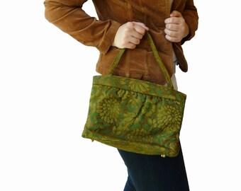 60s Olive Green Handbag Vintage Sixties Floral Brocade Print Theodor of California
