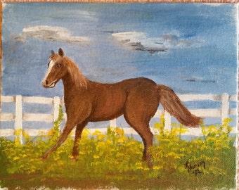 Oil on Canvas Horse in Field 8x10 by Lynda Hamm