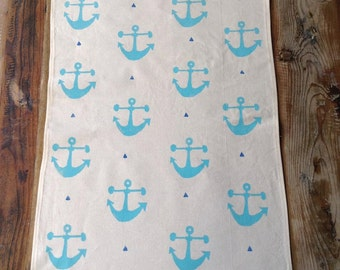 Tea Towel - Block printed tea towel - Beige cotton Tea Towel - Blue Anchors Tea Towel