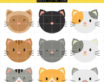 50% off!! Kitty Faces, Emoticons, Cat Lady, Cat Faces Digital Clip Art