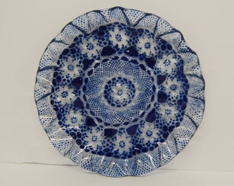 Fused art glass dish with a FLORAL DOILY design
