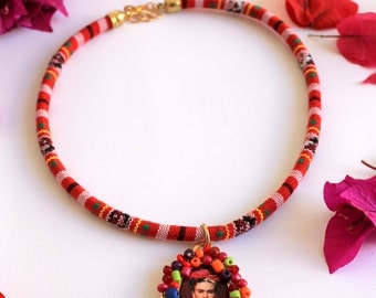 Colorful necklace with Frida Kahlo pendant / boho folk jewelry / Viva la Frida art / mexican handmade jewelry