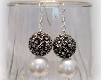 White Pearl & Antique Silver Earrings, Special Occasion Earrings