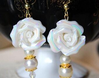 White Victorian Rose Earrings