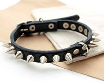 Leather dog collar Spikes dog collar Cat Puppy studs and spikes collar small dogs collars Leather collars Different Sizes XS S M