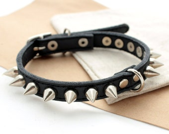 Spikes Leather dog collar dog Cat Puppy collar studs and spikes collar small dogs collars Leather collars Different Sizes XS S M