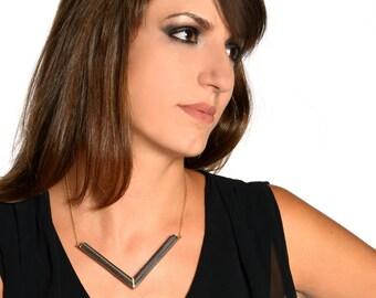 Wood frame necklace - geometric wood jewelry