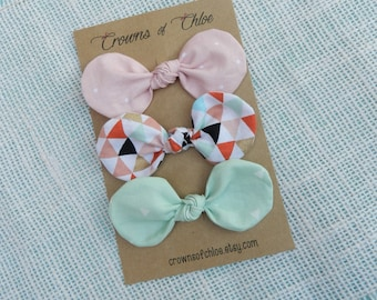 Fabric Knotted Bow Clips