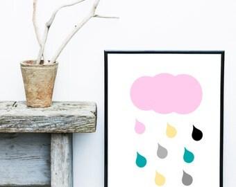 Nursery Wall Art, Cloud Print, Raindrops Print, Scandinavian Nursery, Printable Art, Wall Decor,  Instant Download