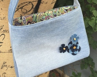 Light Denim with Flowers Denim Handbag with Multi-Colored Paisley Cotton Lining 242080398