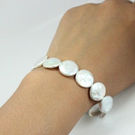 Wedding Bridesmaids Pearl Bracelet   White Coin Pearl Bracelet   Freshwater White Pearl Silver Clasp Bracelet