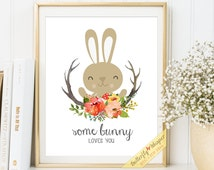 Nursery Quote wall art nursery print Some bunny loves you quote art printable nursery Bunny illustration framed quotes for baby room